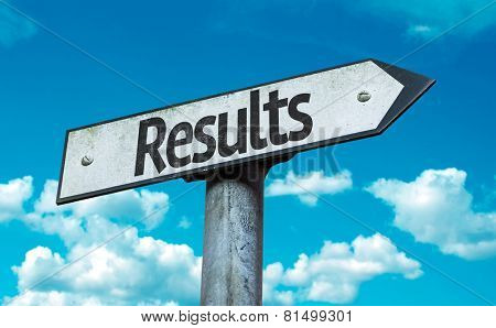 Results sign with sky background