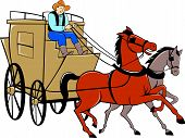 Illustration of a stagecoach driver riding a carriage driving two horses on isolated white background done in cartoon style. poster