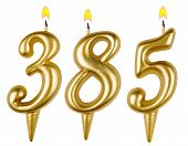 candles number three hundred eighty five isolated on white background poster