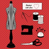 Do it yourself sewing and tailoring tools, fashion model mannequin in black and white stripes, Stitched with Love heart sewing label, sewing machine, needle and thread, pincushion, scissors, polka dot design on red background. poster