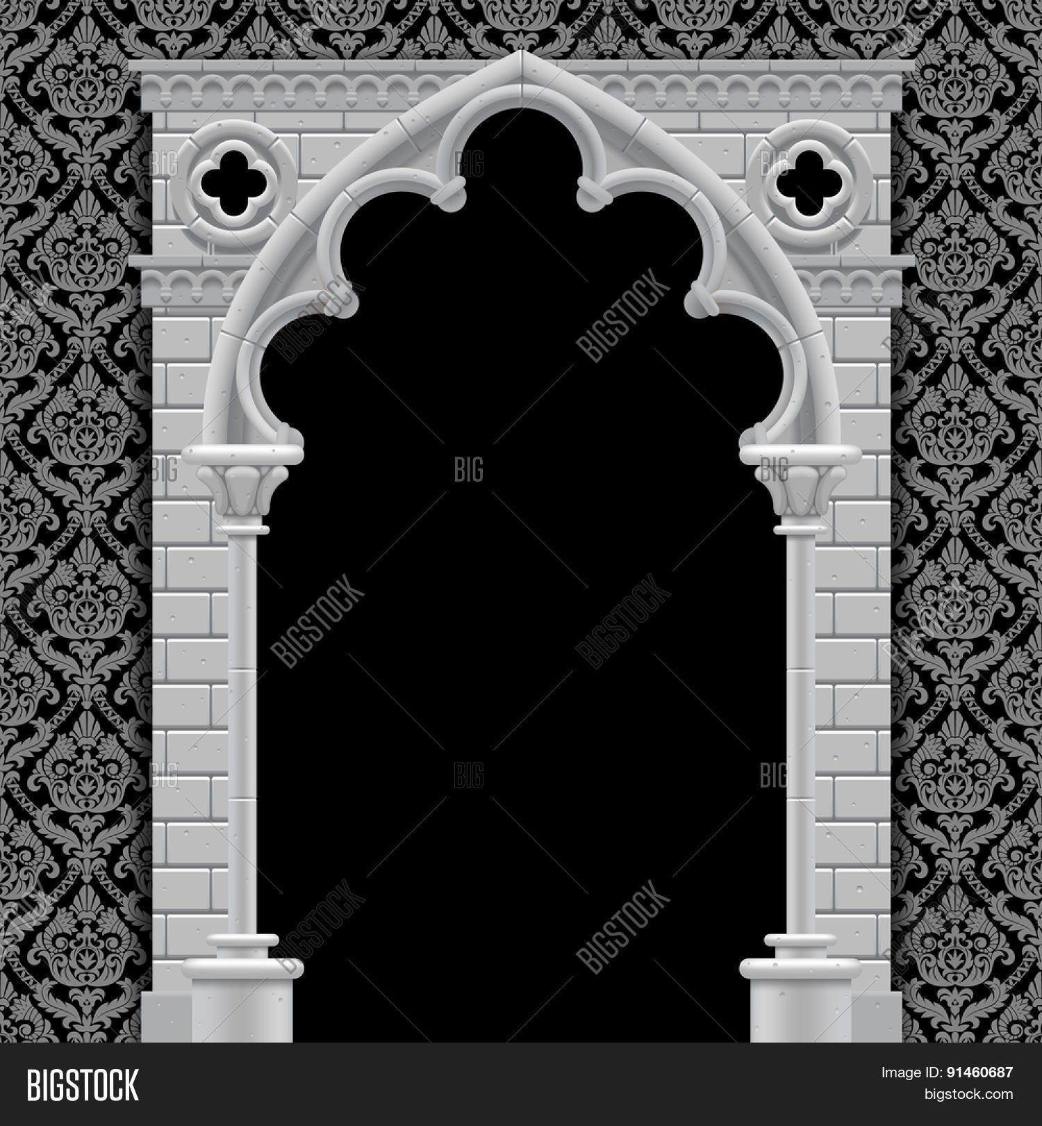 Stone Gothic Arch And Wall In Black White Colors On Classic Vintage Background Antique
