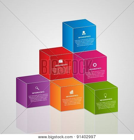 Abstract infographics with 3d colorful blocks. Vector illustration.