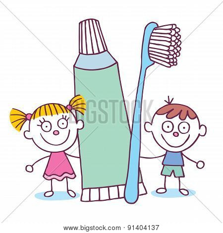 Dental Hygiene kids with toothbrush and toothpaste