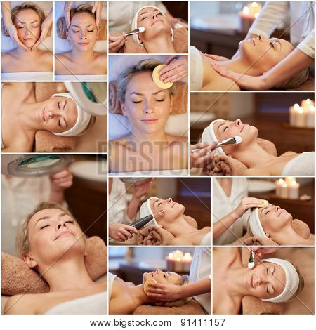beauty, healthy lifestyle and relaxation concept - collage of many pictures with beautiful young woman having facial massage and treatments by cosmetologist at spa salon