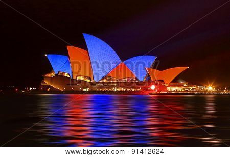 Sydney Opera House In Red And Blue