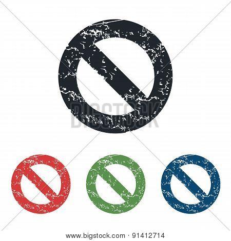 NO sign grunge icon set