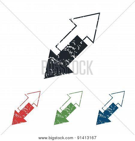 Tilted arrows grunge icon set