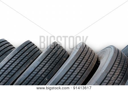 Alignment Of Tires In White Background, Used Tires