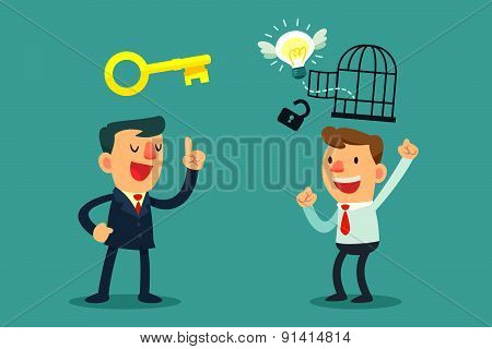 Successful Businessman Help Unlock Idea