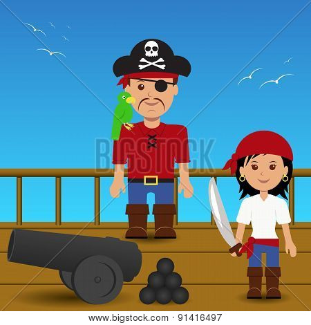 Pirates on the ship.