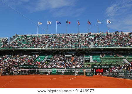 Court Philippe Chatrier at Le Stade Roland Garros during practice matches in Paris