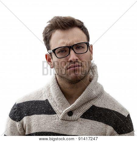 Portrait Of A Yound Perplexed Man