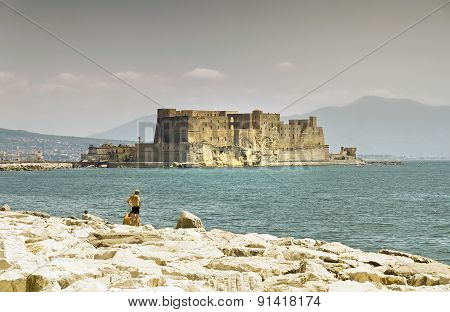 Castel Dell'ovo, A Medieval Fortress In The Bay Of Naples, Italy.