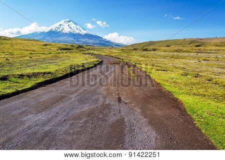 Dirt road leading to snow capped Cotopaxi Volcano in Ecuador poster