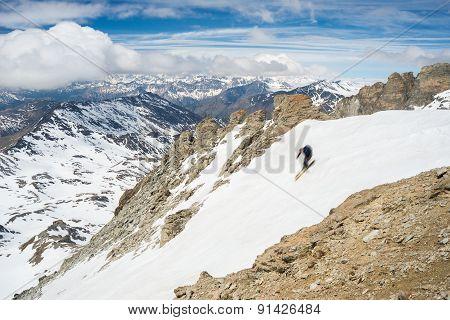 Extreme Skiing In Scenic Alpine Landscape