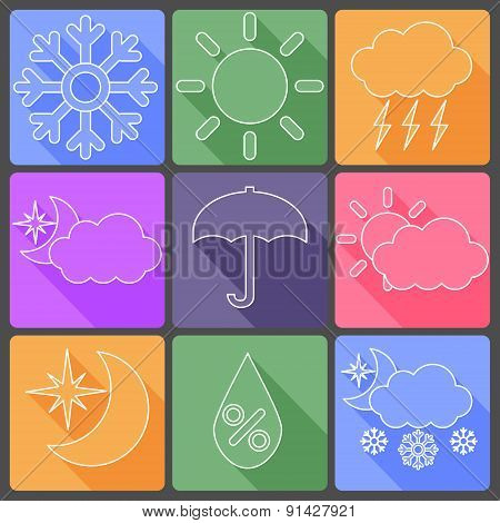 Weather colorful icons, vector illustration