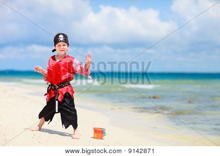 Pirate Boy On Tropical Beach