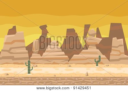 Seamless Desert Road Cactus Nature Concept Flat Design Landscape Background Template Vector Illustra