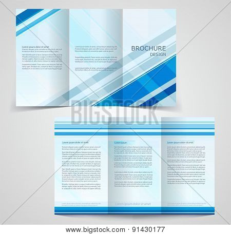 Tri-fold Business Brochure Template, Two-sided Template Design,