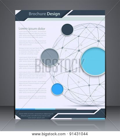 Vector Layout  Brochure With Sphere, Flyer Design Template, Web,  Design With In Blue Colors