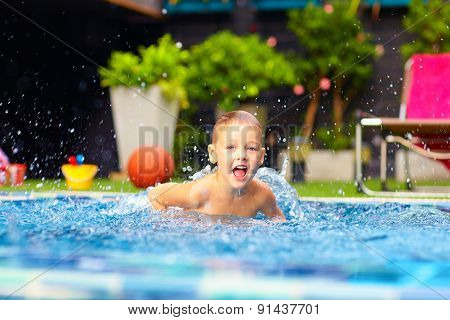 Excited Happy Kid Boy Jumping In Pool, Water Fun