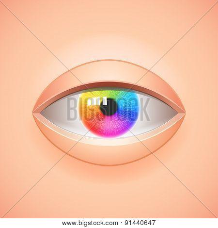 Human Eye With Rainbow Iris Vector Background