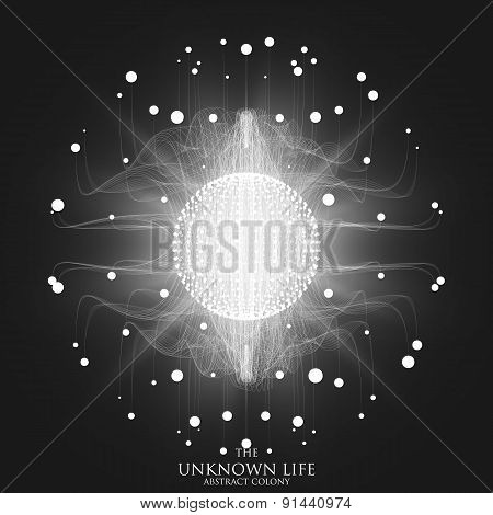 Abstract vector mesh background. Sphere of bioluminescent tentacles. Futuristic style card.