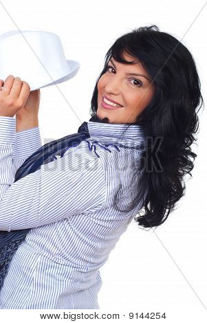 Happy Casual Executive  Holding A Hat