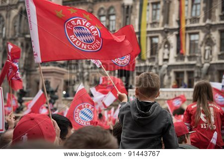 FC Bayern fans celebrating for its 5th Bundesliga title