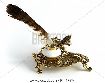 Bronze Inkpot With Feather