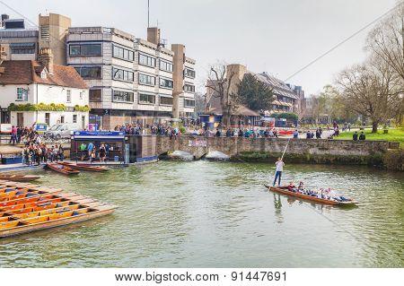 Punts On Cam River In Cambridge, Uk