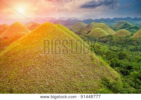 Beautiful Chocolate Hills In Bohol, Philippines