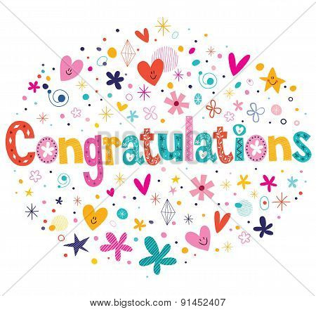 Congratulations typography lettering decorative text card design poster