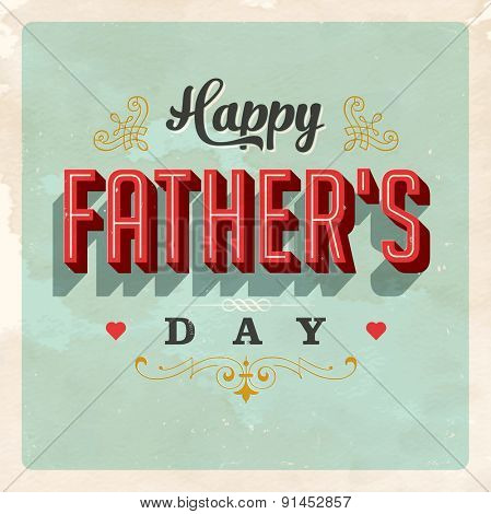 Vintage Father's Day Card - Vector EPS10. Used and worn effects can be easily removed for a clean design.