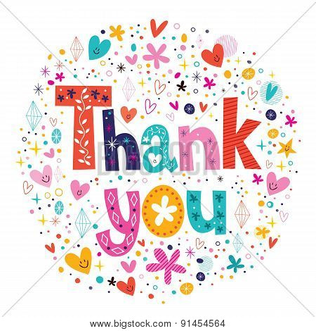 words Thank you typography lettering decorative text card