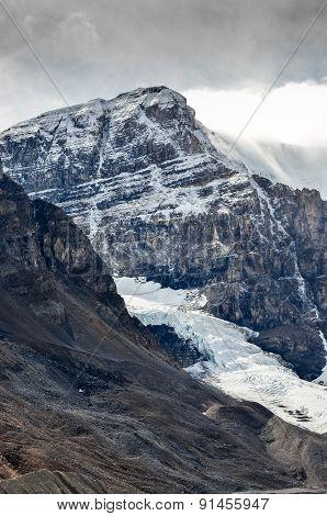 Scenic View Of Columbia Glacier And Mountain Peak, Jasper Np