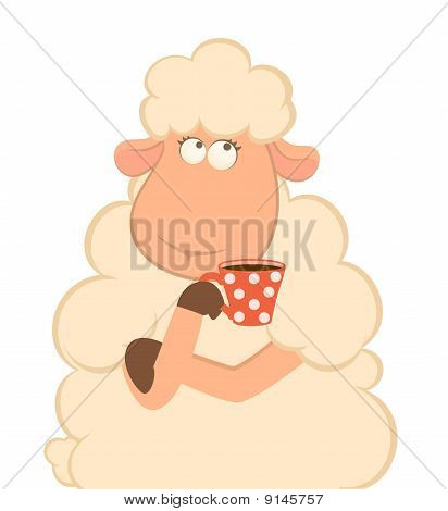Illustration of cartoon sheep has coffee from a cup poster