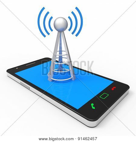 Wifi Hotspot Shows World Wide Web And Antenna
