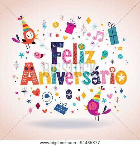 Feliz Aniversario Portuguese Happy Birthday card