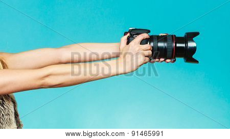 Photographer Hands Holding Camera Shooting Images