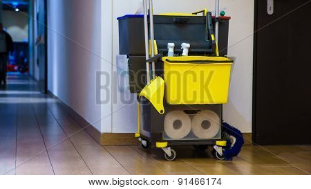 Professional Cleaning Equipment In Corridor.
