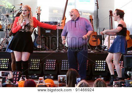 NEW YORK - MAY 22: Singer Meghan Trainor (L) dances with Sean