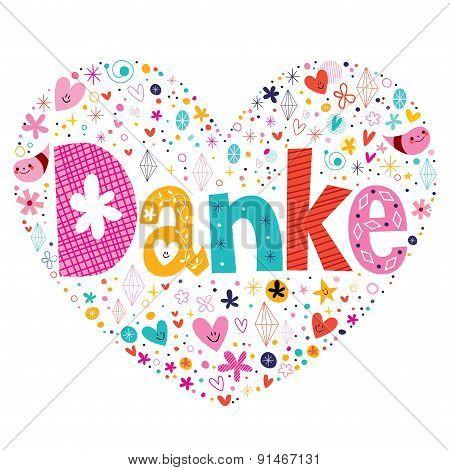 Danke - Thanks in German typography lettering card