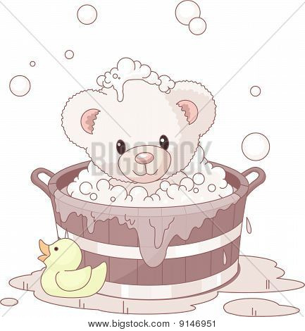 Cute Teddy Bear Bathing