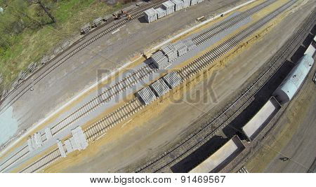 MOSCOW, RUSSIA - APR 30, 2014: Building site of railroad beltway widening for passenger traffic opening. Aerial view