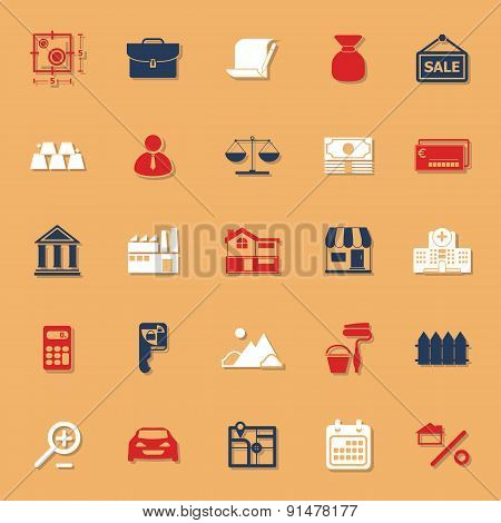 Mortgage And Home Loan Classic Color Icons With Shadow