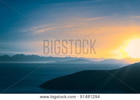 Sunrise over Lake Titicaca in Bolivia