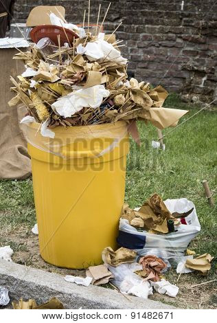 overfull food garbage can trash during a traditional village festival poster
