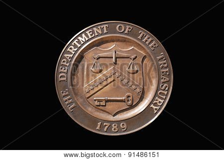 Isolated logo of United States Treasury Department with black background