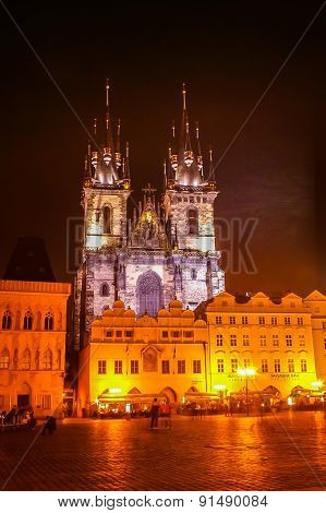 Night View On Church Of Our Lady Before Tyn